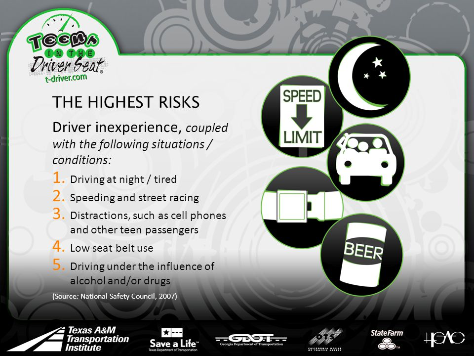 THE HIGHEST RISKS Driver inexperience, coupled with the following situations / conditions: 1.