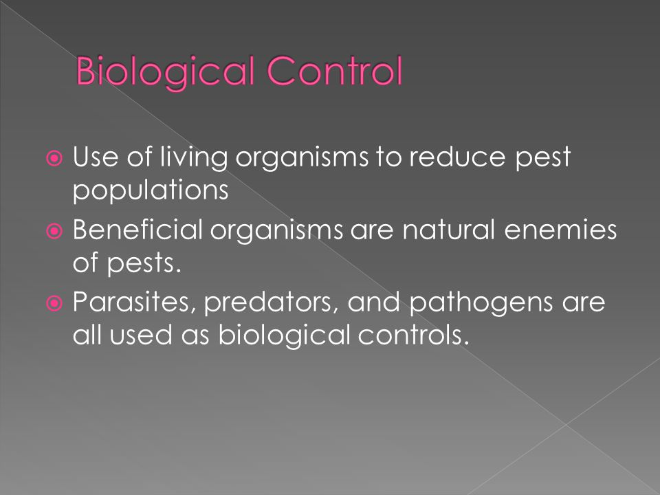  Use of living organisms to reduce pest populations  Beneficial organisms are natural enemies of pests.