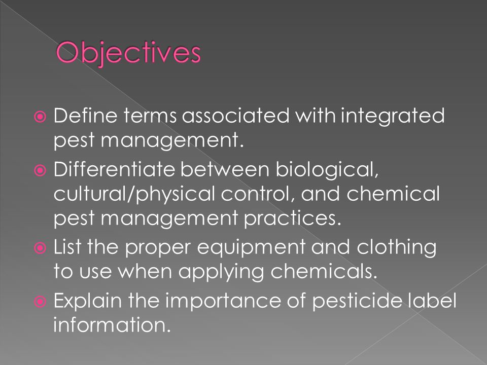  Define terms associated with integrated pest management.