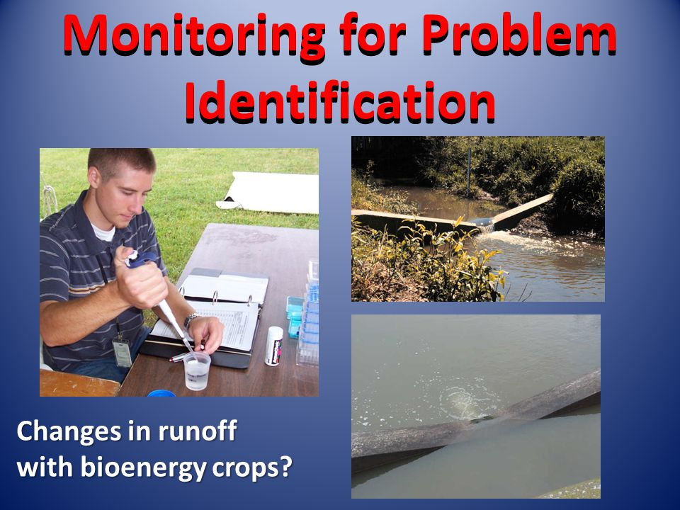 Monitoring for Problem Identification Changes in runoff with bioenergy crops