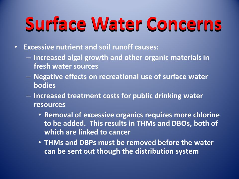 Surface Water Concerns Excessive nutrient and soil runoff causes: – Increased algal growth and other organic materials in fresh water sources – Negative effects on recreational use of surface water bodies – Increased treatment costs for public drinking water resources Removal of excessive organics requires more chlorine to be added.