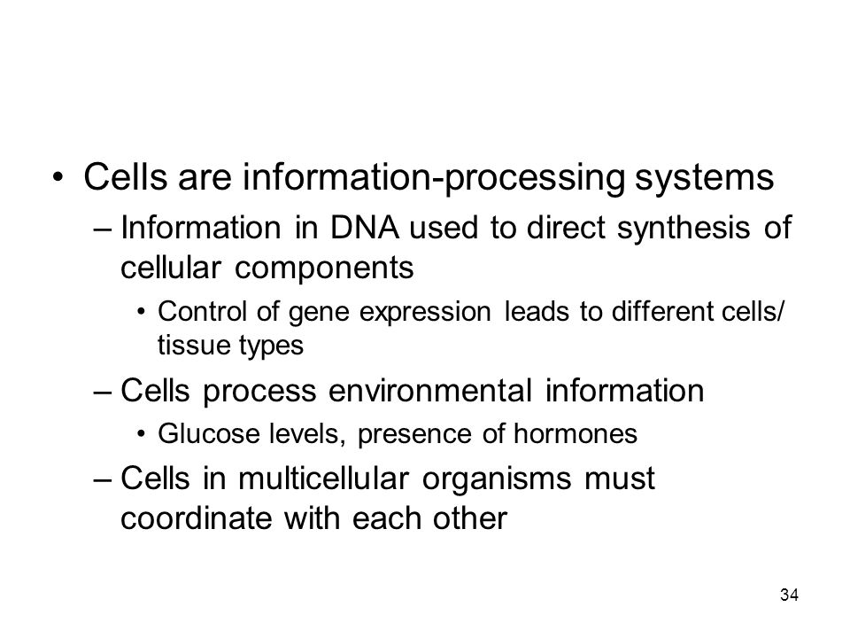 Cells are information-processing systems –Information in DNA used to direct synthesis of cellular components Control of gene expression leads to different cells/ tissue types –Cells process environmental information Glucose levels, presence of hormones –Cells in multicellular organisms must coordinate with each other 34