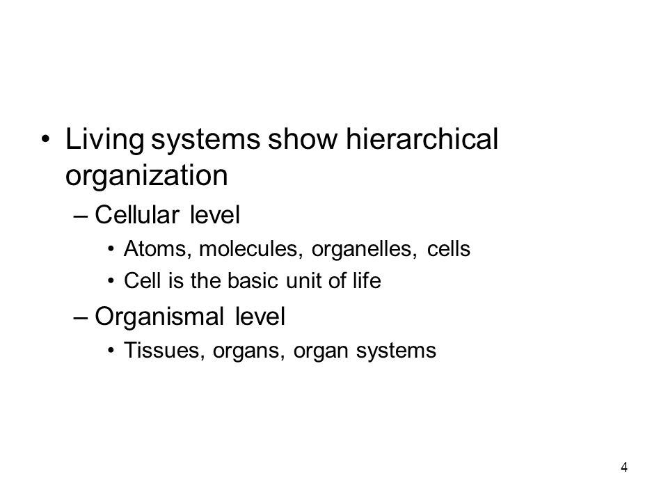 Living systems show hierarchical organization –Cellular level Atoms, molecules, organelles, cells Cell is the basic unit of life –Organismal level Tissues, organs, organ systems 4