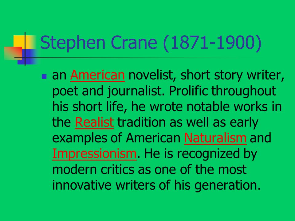 essay on the open boat by stephen crane Stephen crane's the open boat essay - nature is its own being it does not care how it affects people, nor does it care whether its actions are - in the story the open boat, by stephen crane, crane uses many literary techniques to convey the stories overall theme the story is centered on.