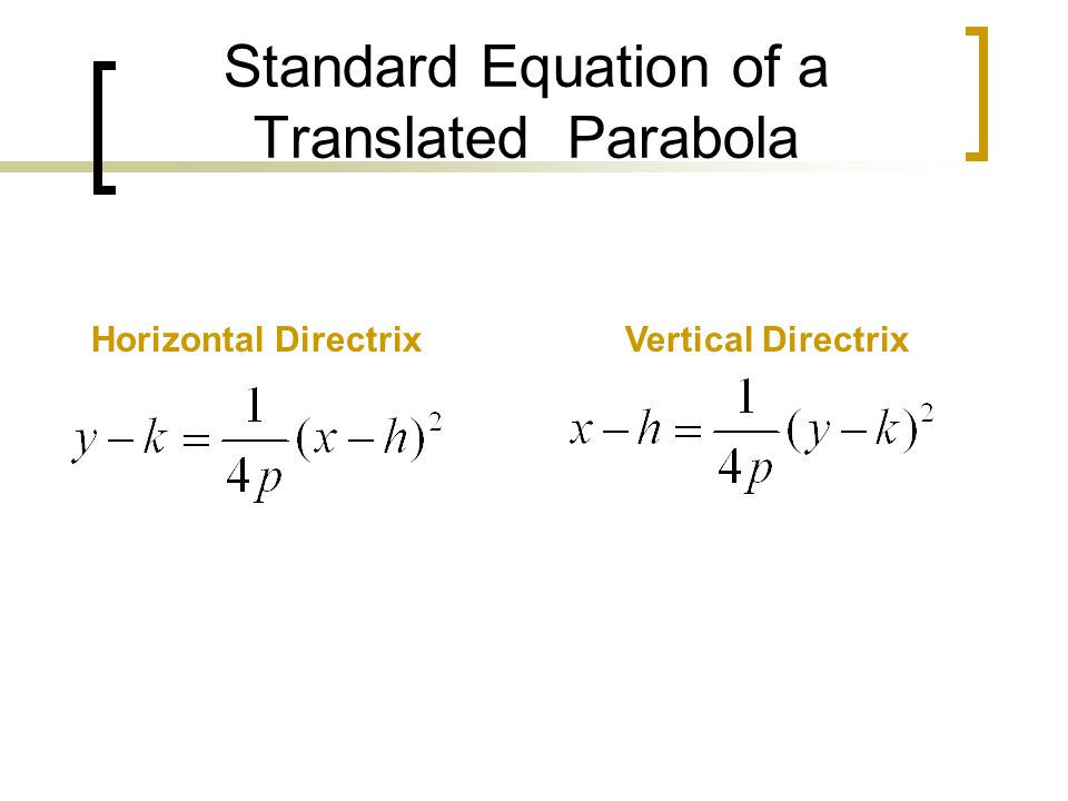 Standard Equation of a Translated Parabola Horizontal DirectrixVertical Directrix