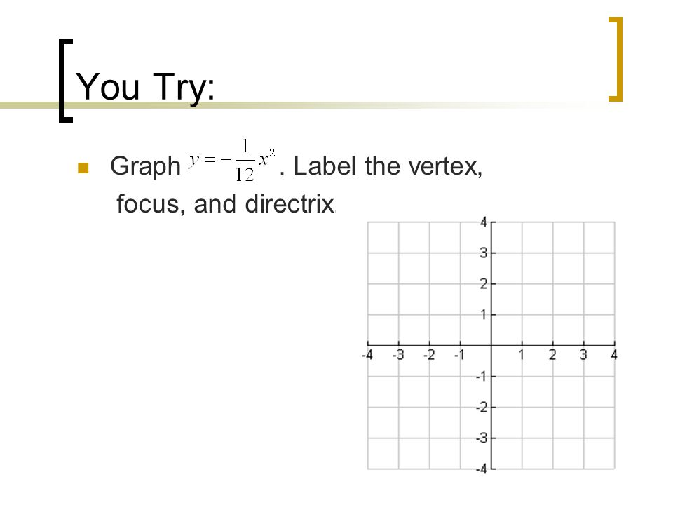 You Try: Graph. Label the vertex, focus, and directrix.