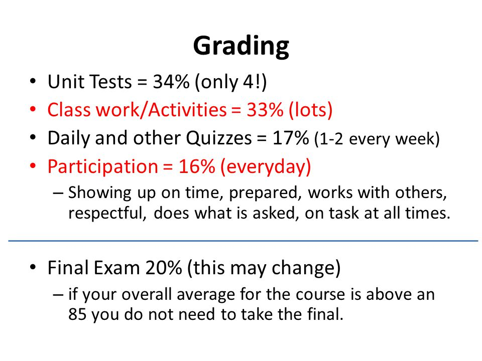 Grading Unit Tests = 34% (only 4!) Class work/Activities = 33% (lots) Daily and other Quizzes = 17% (1-2 every week) Participation = 16% (everyday) – Showing up on time, prepared, works with others, respectful, does what is asked, on task at all times.
