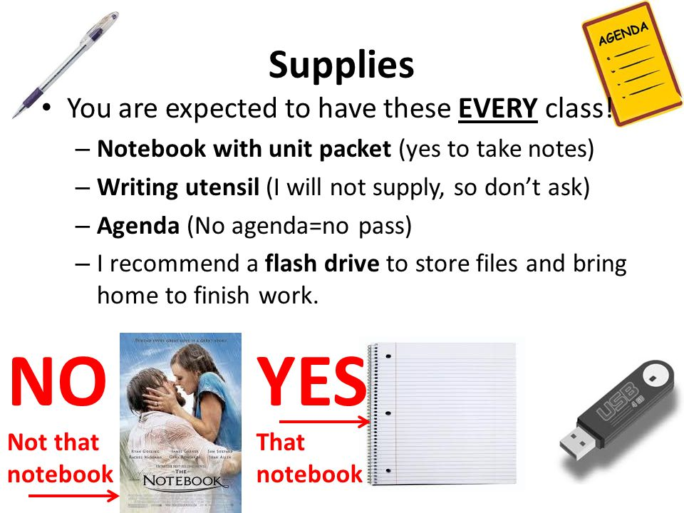 Supplies You are expected to have these EVERY class.