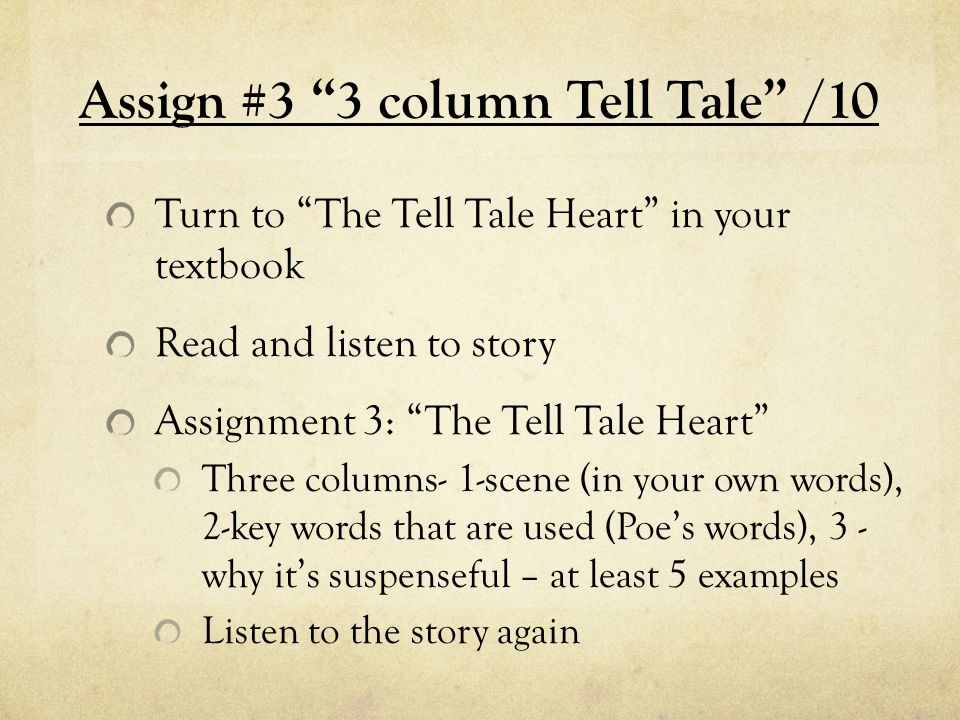 Assign #3 3 column Tell Tale /10 Turn to The Tell Tale Heart in your textbook Read and listen to story Assignment 3: The Tell Tale Heart Three columns- 1-scene (in your own words), 2-key words that are used (Poe's words), 3 - why it's suspenseful – at least 5 examples Listen to the story again