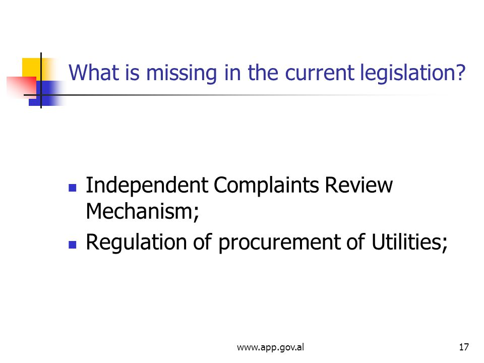 What is missing in the current legislation.