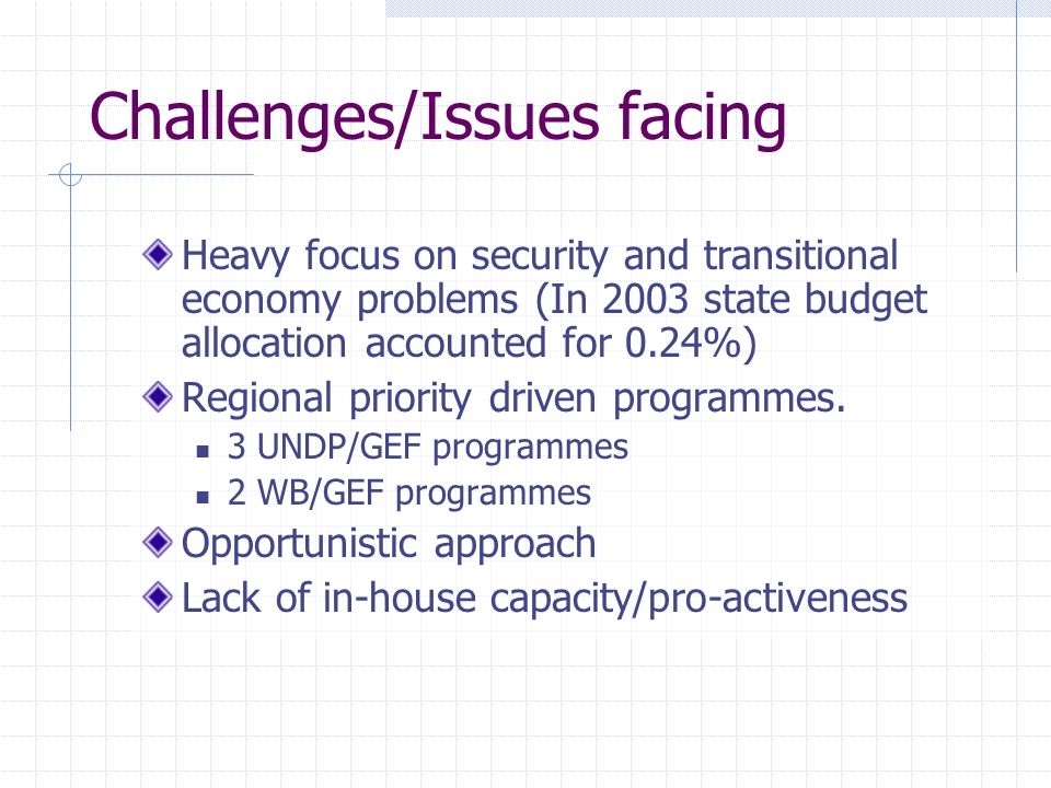 Challenges/Issues facing Heavy focus on security and transitional economy problems (In 2003 state budget allocation accounted for 0.24%) Regional priority driven programmes.