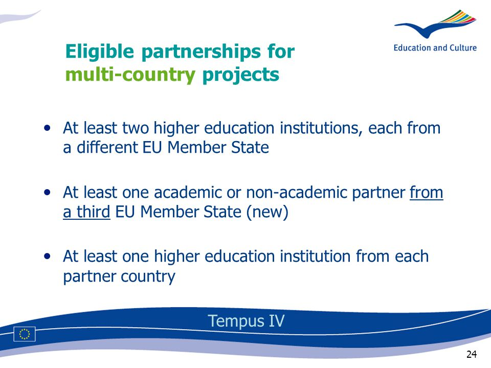 24 Eligible partnerships for multi-country projects Tempus IV At least two higher education institutions, each from a different EU Member State At least one academic or non-academic partner from a third EU Member State (new) At least one higher education institution from each partner country
