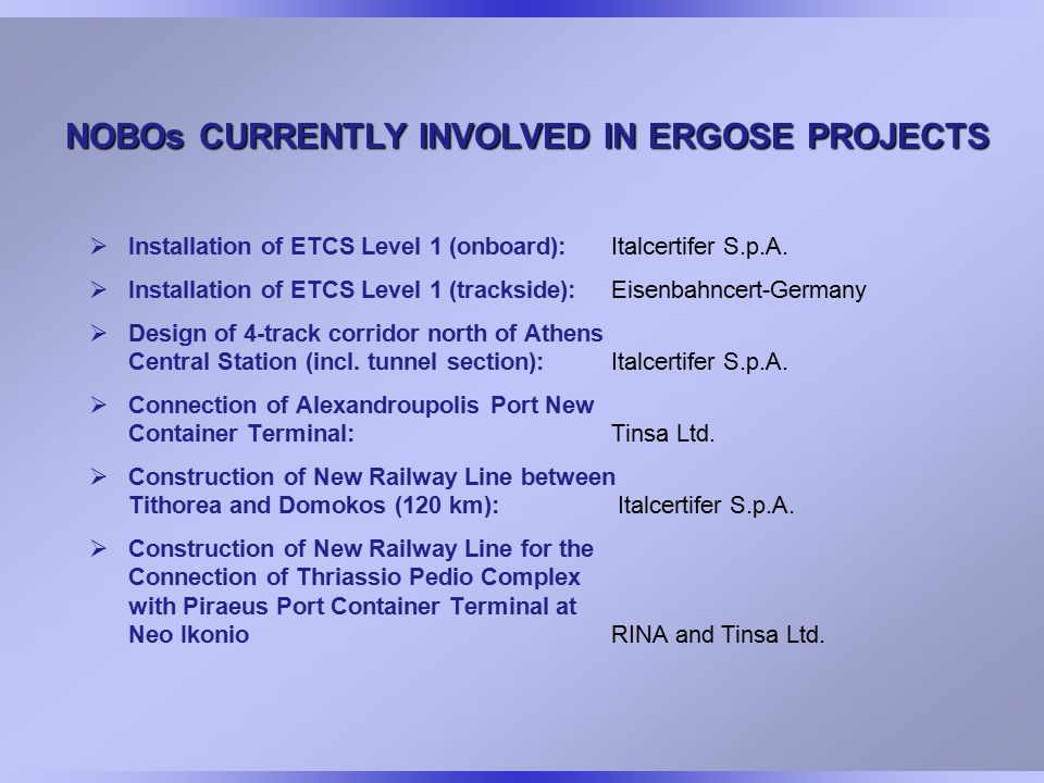 NOBOs CURRENTLY INVOLVED IN ERGOSE PROJECTS  Installation of ETCS Level 1 (onboard): Italcertifer S.p.A.