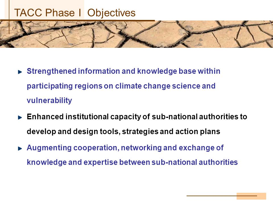 TACC objectives Strengthened information and knowledge base within participating regions on climate change science and vulnerability Enhanced institutional capacity of sub-national authorities to develop and design tools, strategies and action plans Augmenting cooperation, networking and exchange of knowledge and expertise between sub-national authorities TACC Phase I Objectives