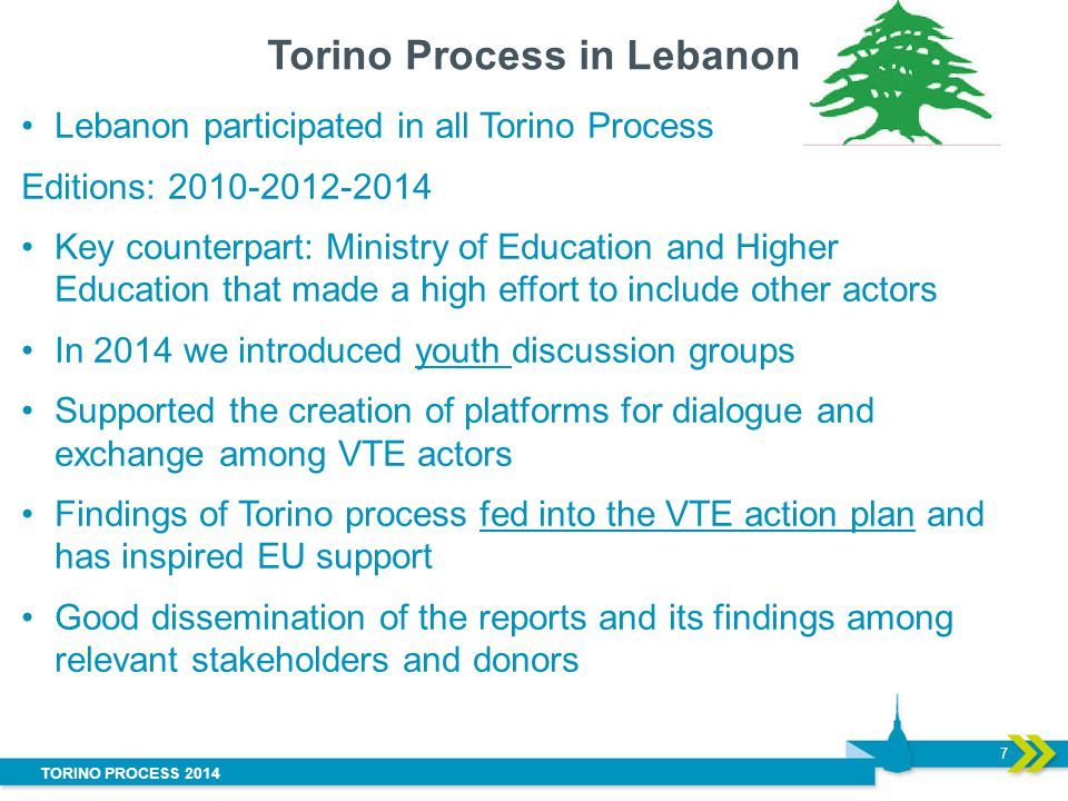 TORINO PROCESS 2014 Torino Process in Lebanon 7 Lebanon participated in all Torino Process Editions: Key counterpart: Ministry of Education and Higher Education that made a high effort to include other actors In 2014 we introduced youth discussion groups Supported the creation of platforms for dialogue and exchange among VTE actors Findings of Torino process fed into the VTE action plan and has inspired EU support Good dissemination of the reports and its findings among relevant stakeholders and donors