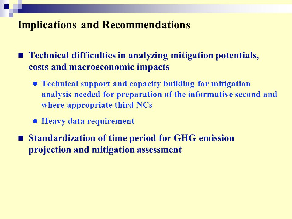Implications and Recommendations Technical difficulties in analyzing mitigation potentials, costs and macroeconomic impacts Technical support and capacity building for mitigation analysis needed for preparation of the informative second and where appropriate third NCs Heavy data requirement Standardization of time period for GHG emission projection and mitigation assessment