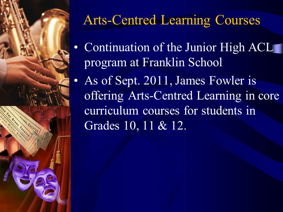 Continuation of the Junior High ACL program at Franklin School As of Sept.