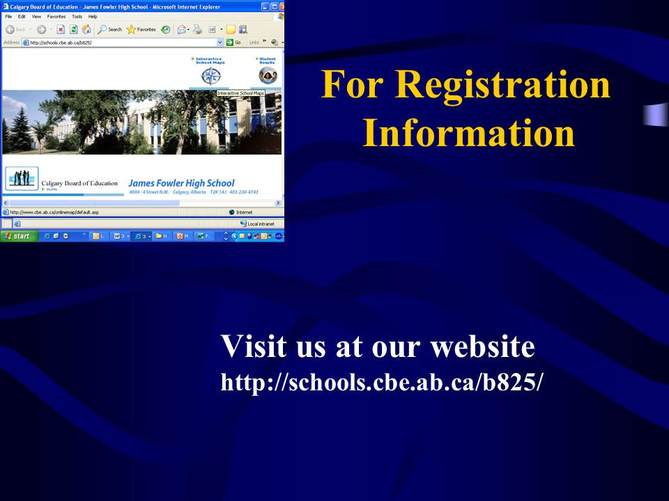 For Registration Information Visit us at our website