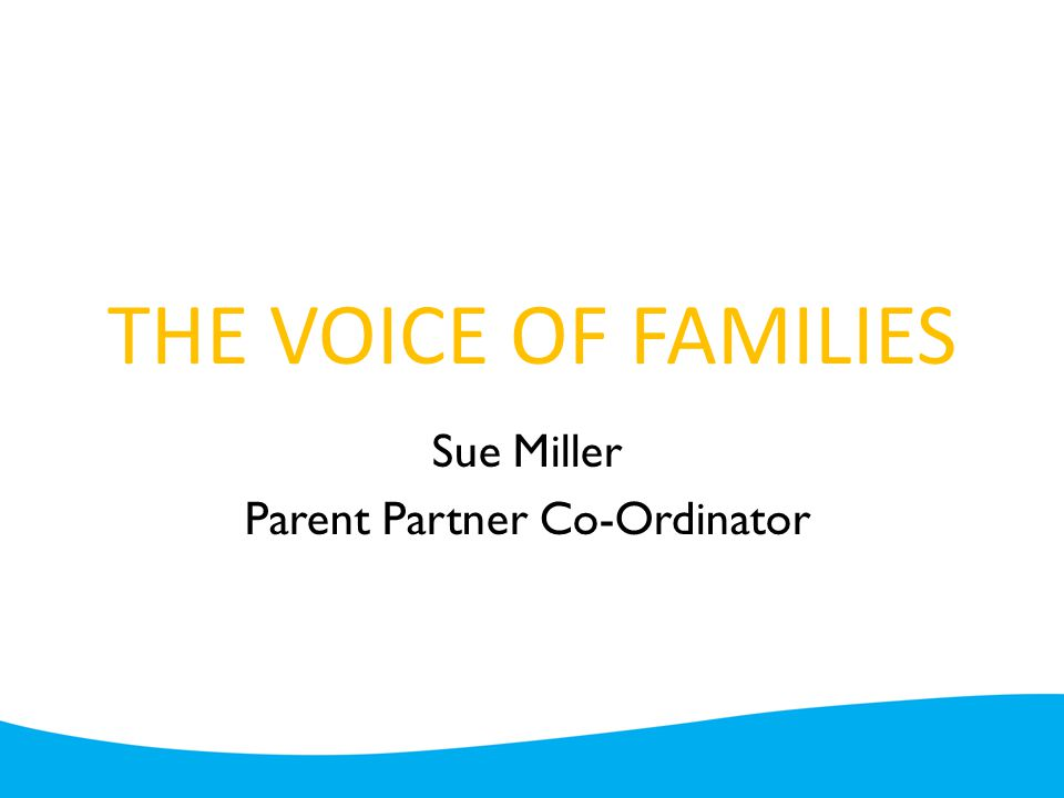THE VOICE OF FAMILIES Sue Miller Parent Partner Co-Ordinator