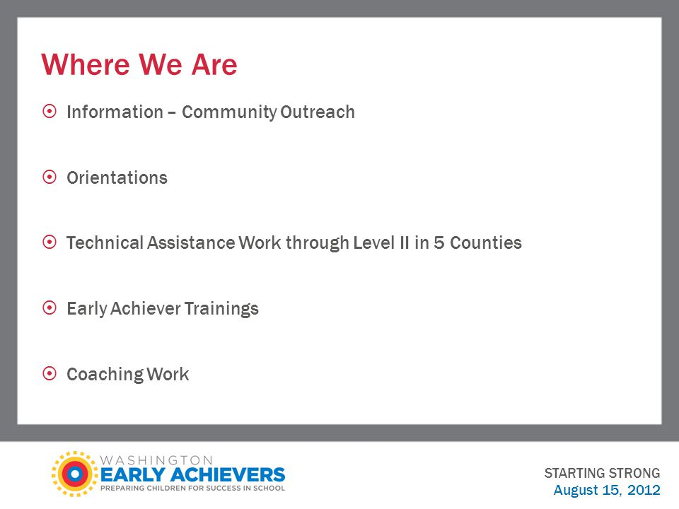 Where We Are  Information – Community Outreach  Orientations  Technical Assistance Work through Level II in 5 Counties  Early Achiever Trainings  Coaching Work STARTING STRONG August 15, 2012