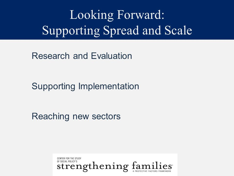 Looking Forward: Supporting Spread and Scale Research and Evaluation Supporting Implementation Reaching new sectors