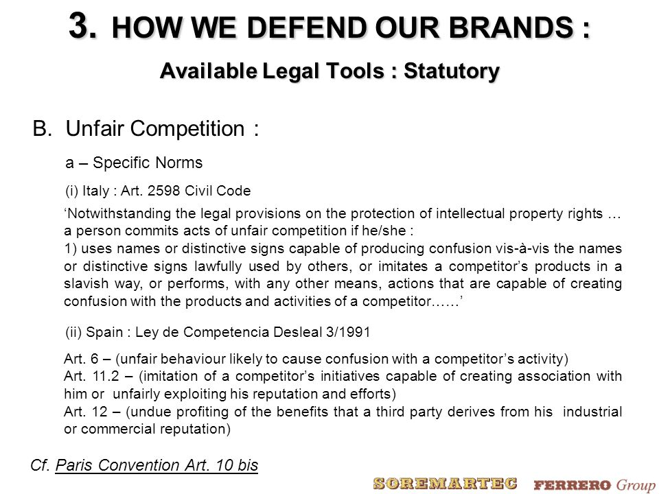 B.Unfair Competition : a – Specific Norms (i) Italy : Art.