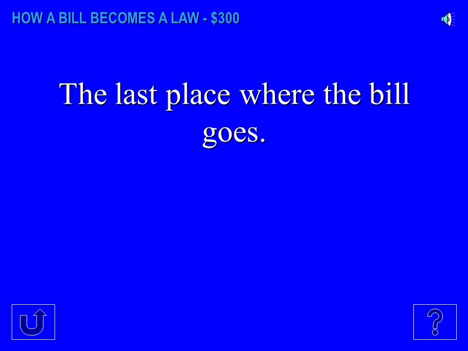 HOW A BILL BECOMES A LAW - $200 The House bills begin at this number.