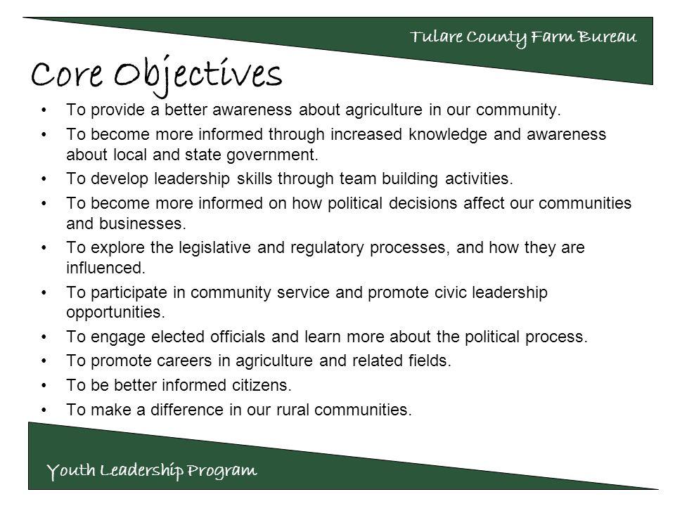 Youth Leadership Program Tulare County Farm Bureau Investing