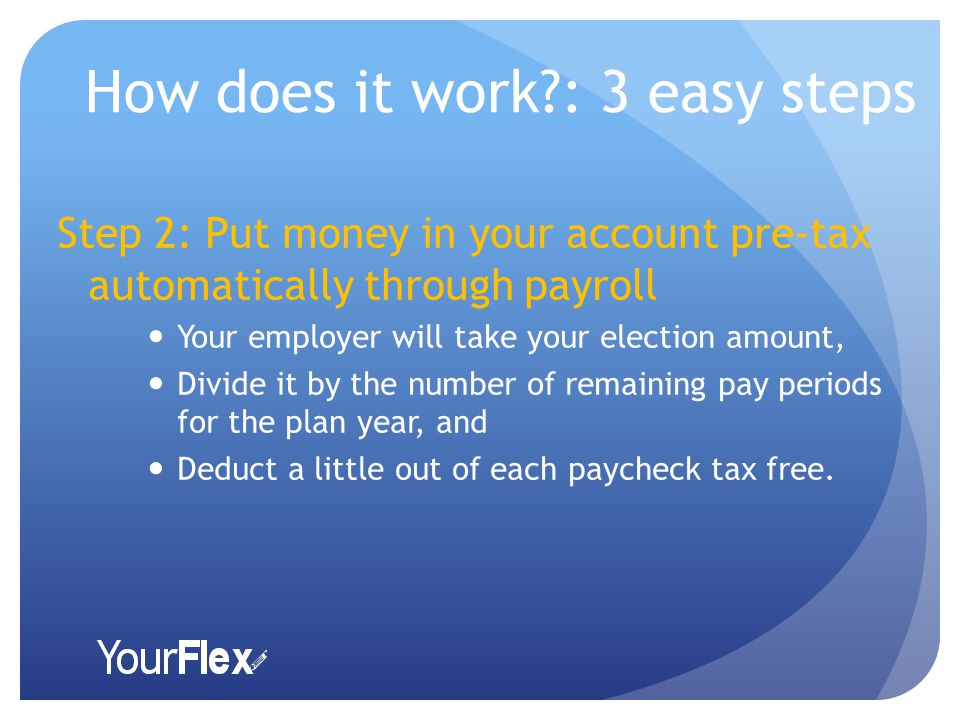How does it work : 3 easy steps Step 2: Put money in your account pre-tax automatically through payroll Your employer will take your election amount, Divide it by the number of remaining pay periods for the plan year, and Deduct a little out of each paycheck tax free.