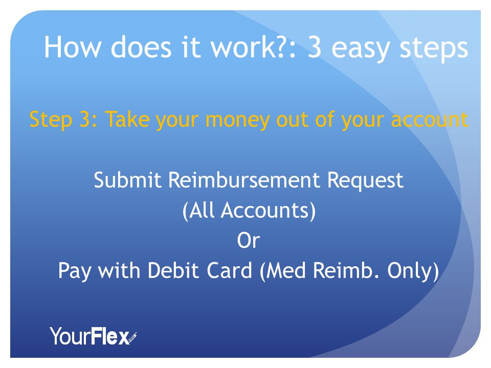How does it work : 3 easy steps Step 3: Take your money out of your account Submit Reimbursement Request (All Accounts) Or Pay with Debit Card (Med Reimb.