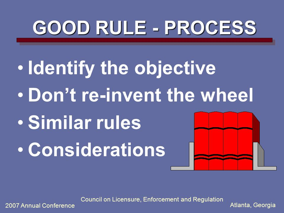 Atlanta, Georgia 2007 Annual Conference Council on Licensure, Enforcement and Regulation GOOD RULE - PROCESS Identify the objective Don't re-invent the wheel Similar rules Considerations