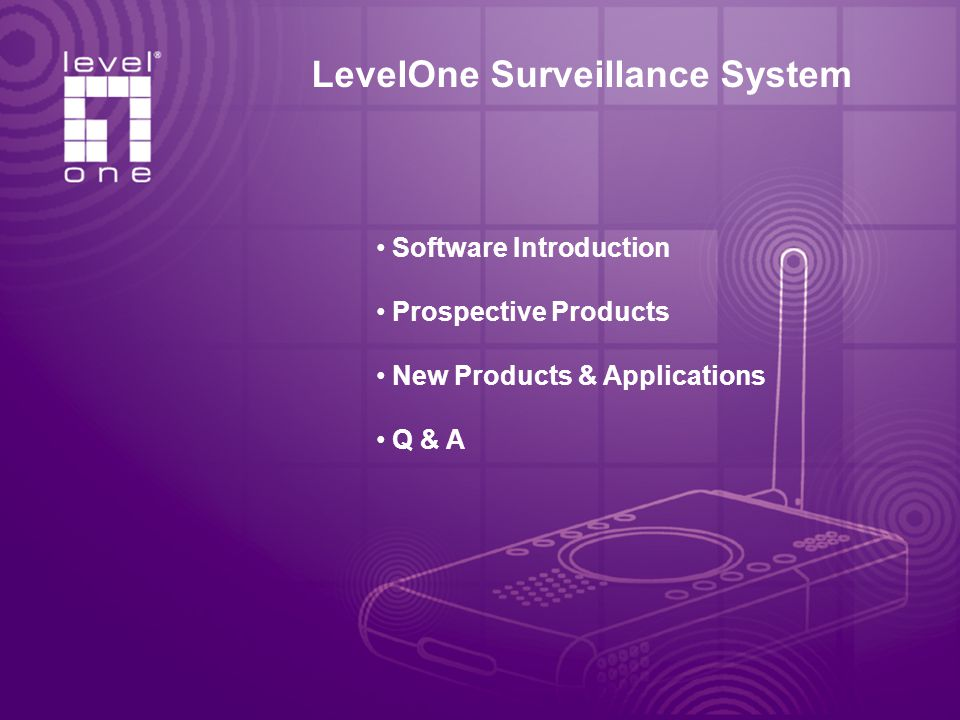 LevelOne Surveillance System Software Introduction Prospective Products New Products & Applications Q & A