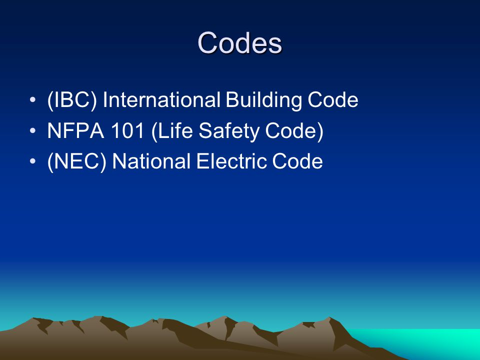 3 Codes (IBC) International Building Code NFPA 101 (Life Safety Code) (NEC) National Electric Code  sc 1 st  SlidePlayer & Emergency Lighting Code Review Presented by Iota Engineering LLC ...