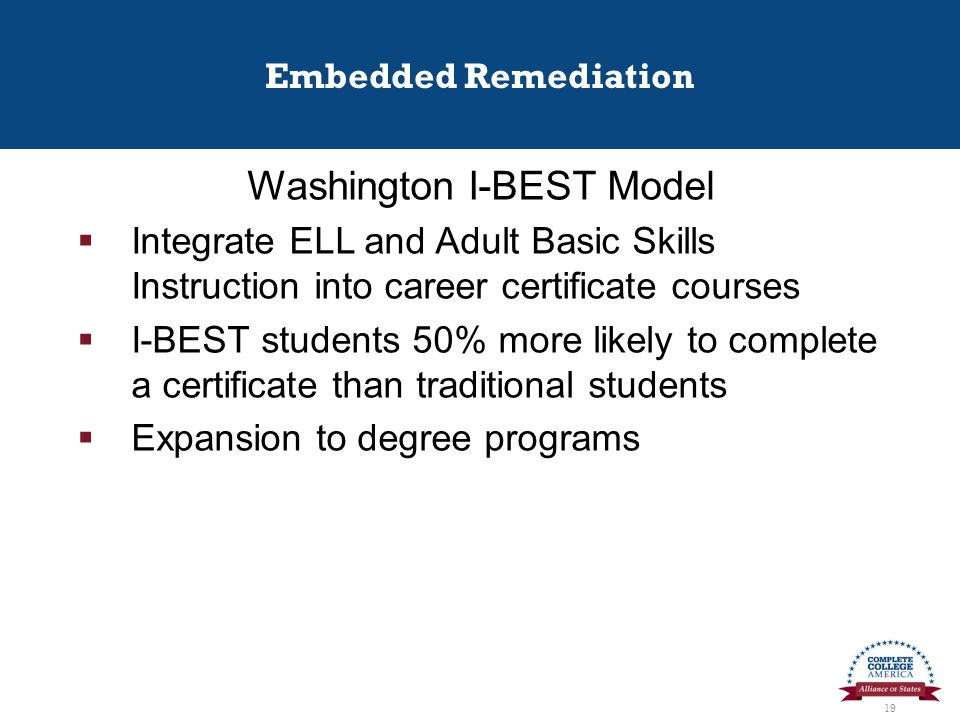 Embedded Remediation Washington I-BEST Model  Integrate ELL and Adult Basic Skills Instruction into career certificate courses  I-BEST students 50% more likely to complete a certificate than traditional students  Expansion to degree programs 19