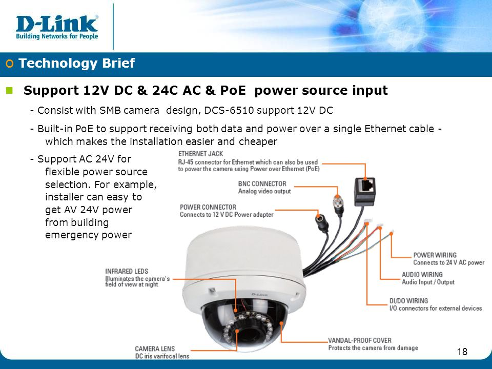 o Technology Brief Support 12V DC & 24C AC & PoE power source input - Consist with SMB camera design, DCS-6510 support 12V DC - Built-in PoE to support receiving both data and power over a single Ethernet cable - which makes the installation easier and cheaper - Support AC 24V for flexible power source selection.