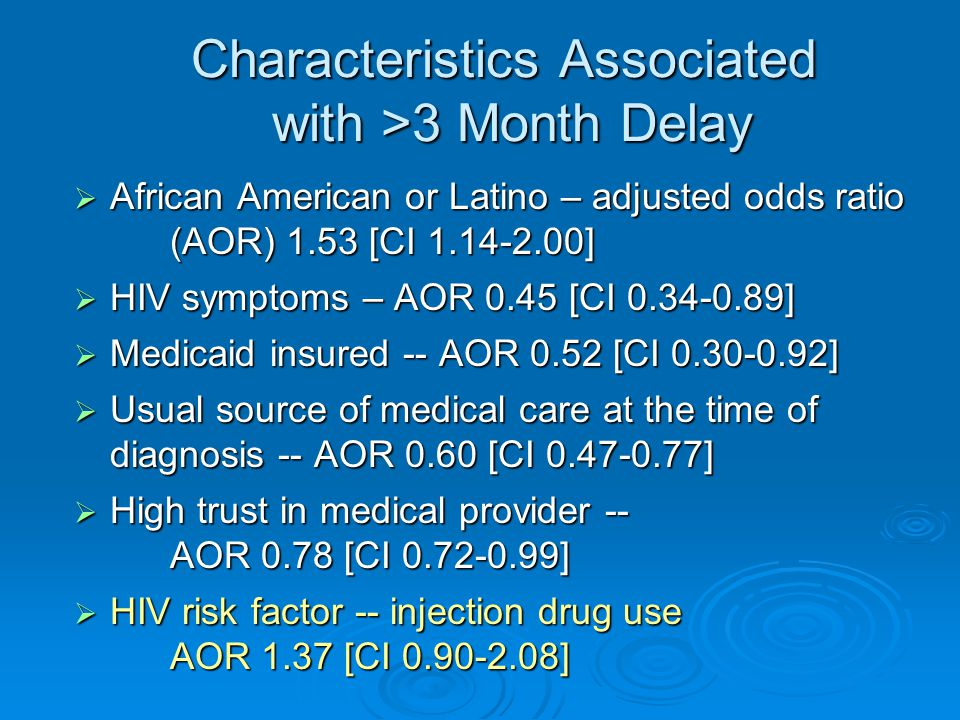 Characteristics Associated with >3 Month Delay  African American or Latino – adjusted odds ratio (AOR) 1.53 [CI ]  HIV symptoms – AOR 0.45 [CI ]  Medicaid insured -- AOR 0.52 [CI ]  Usual source of medical care at the time of diagnosis -- AOR 0.60 [CI ]  High trust in medical provider -- AOR 0.78 [CI ]  HIV risk factor -- injection drug use AOR 1.37 [CI ]