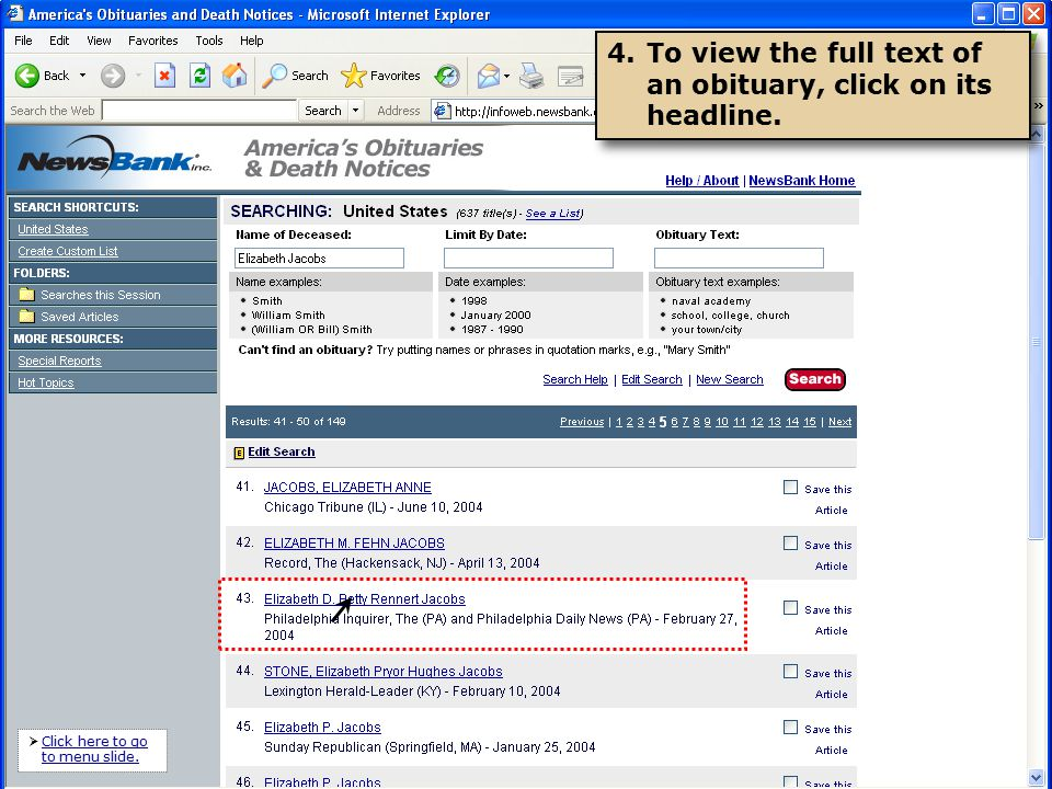 NewsBank, inc  Presents How to Search America's Obituaries