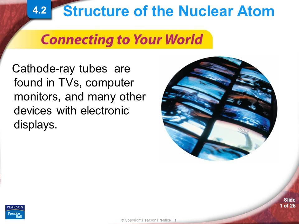 © Copyright Pearson Prentice Hall Slide 1 of 25 Structure of the Nuclear Atom Cathode-ray tubes are found in TVs, computer monitors, and many other devices with electronic displays.