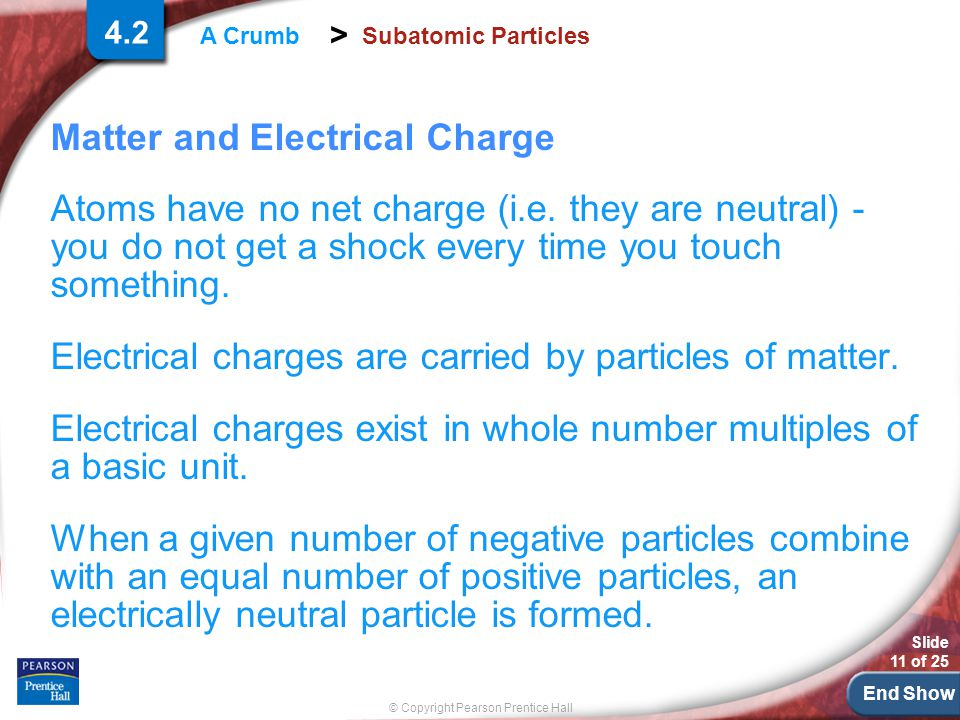 End Show Slide 11 of 25 © Copyright Pearson Prentice Hall > A Crumb Subatomic Particles 4.2 Matter and Electrical Charge Atoms have no net charge (i.e.