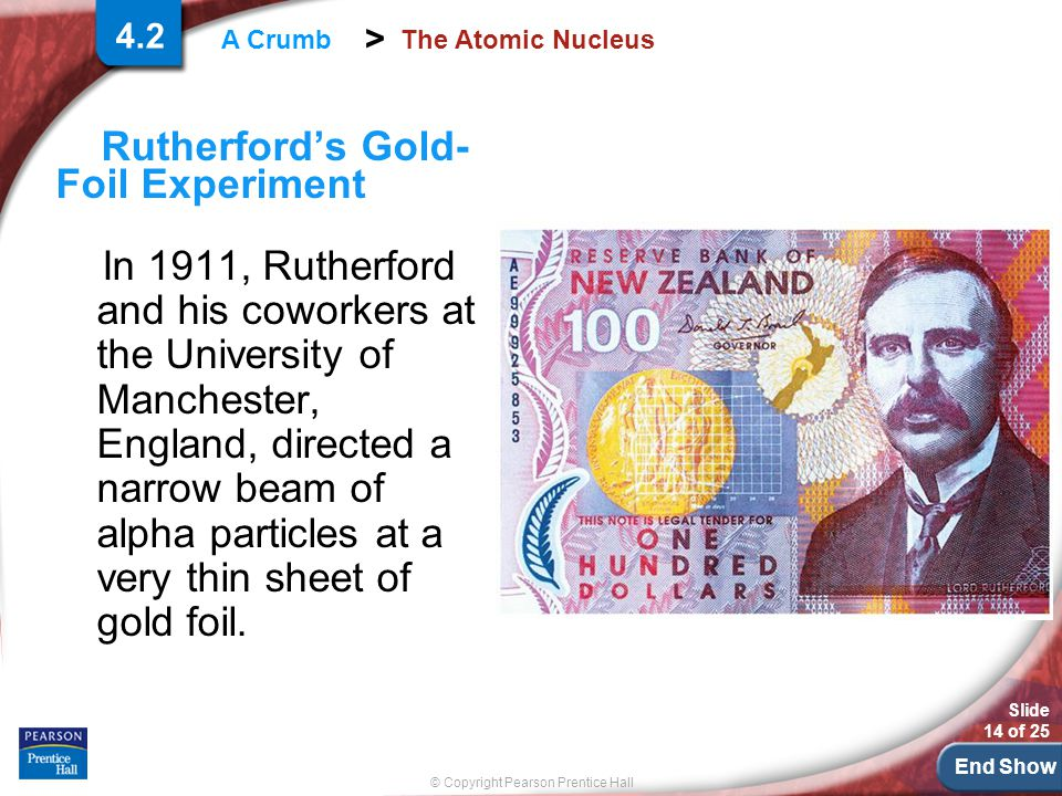 End Show Slide 14 of 25 © Copyright Pearson Prentice Hall > A Crumb The Atomic Nucleus Rutherford's Gold- Foil Experiment In 1911, Rutherford and his coworkers at the University of Manchester, England, directed a narrow beam of alpha particles at a very thin sheet of gold foil.