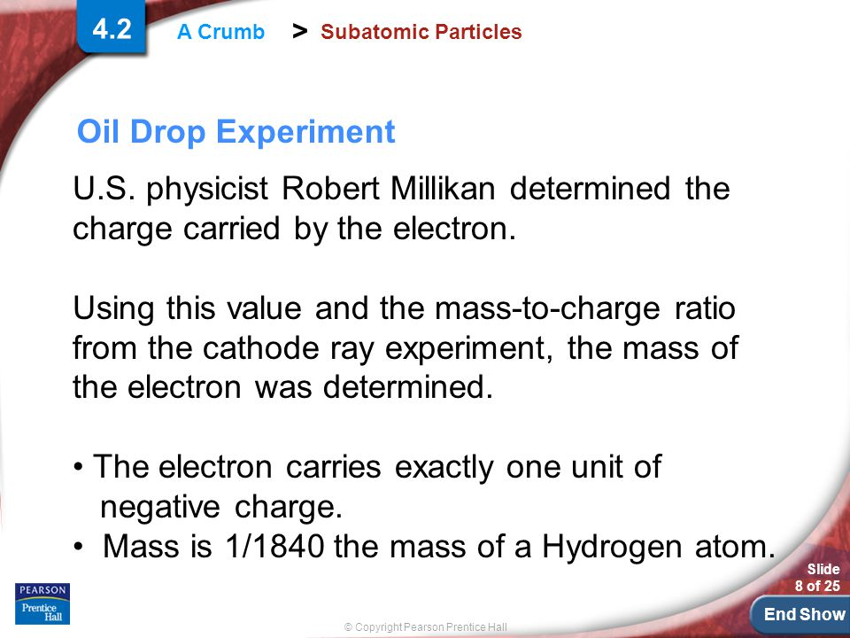 End Show Slide 8 of 25 © Copyright Pearson Prentice Hall > A Crumb Subatomic Particles Oil Drop Experiment 4.2 U.S.