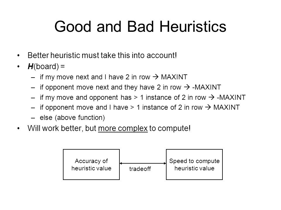 Good and Bad Heuristics Better heuristic must take this into account.