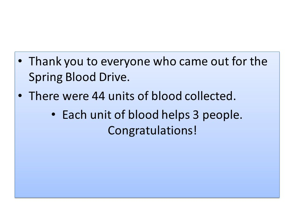 Thank you to everyone who came out for the Spring Blood Drive.