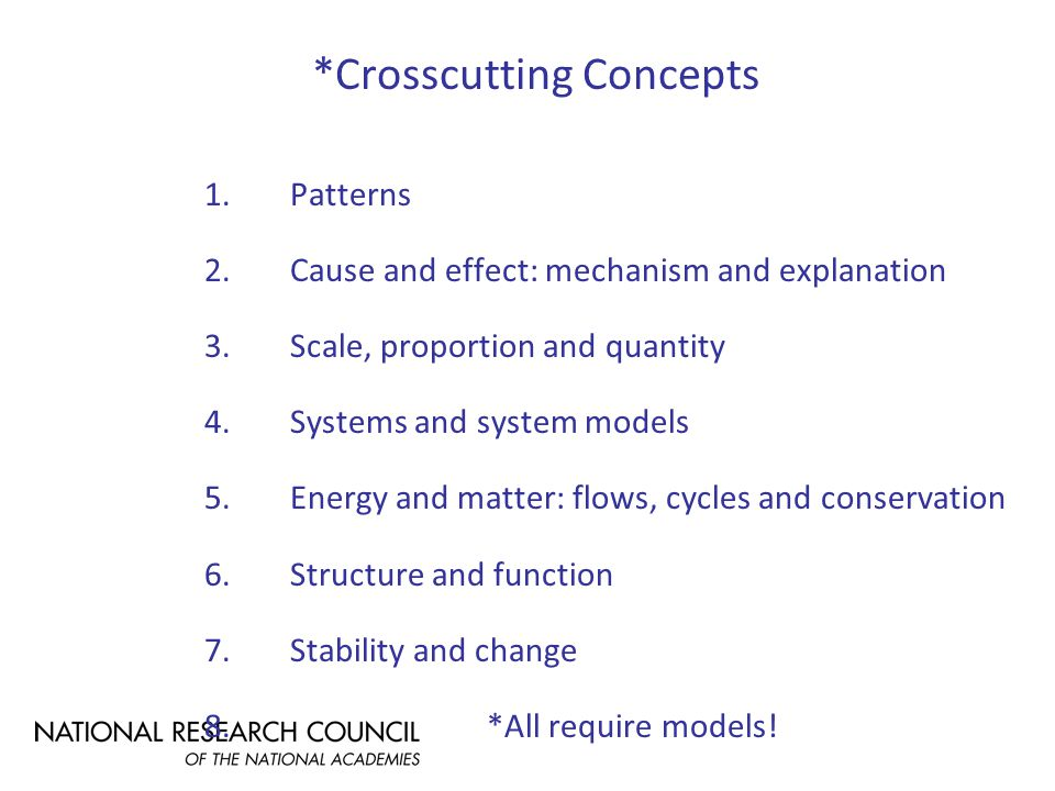 *Crosscutting Concepts 1.Patterns 2.Cause and effect: mechanism and explanation 3.Scale, proportion and quantity 4.Systems and system models 5.Energy and matter: flows, cycles and conservation 6.Structure and function 7.Stability and change 8.