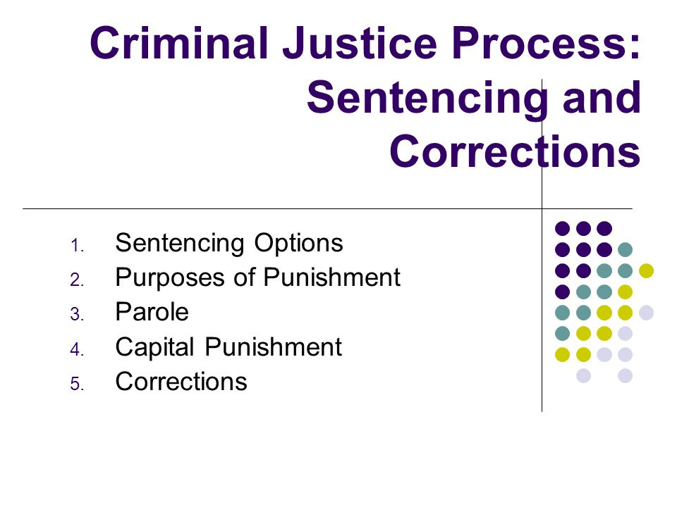 Criminal Justice Process: Sentencing and Corrections 1.