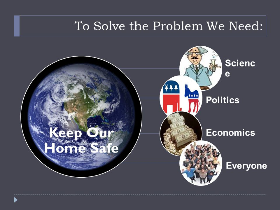 To Solve the Problem We Need: Keep Our Home Safe Scienc e Politics Economics Everyone