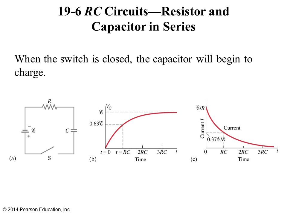19-6 RC Circuits—Resistor and Capacitor in Series When the switch is closed, the capacitor will begin to charge.