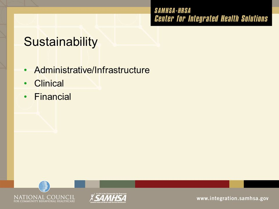Sustainability Administrative/Infrastructure Clinical Financial