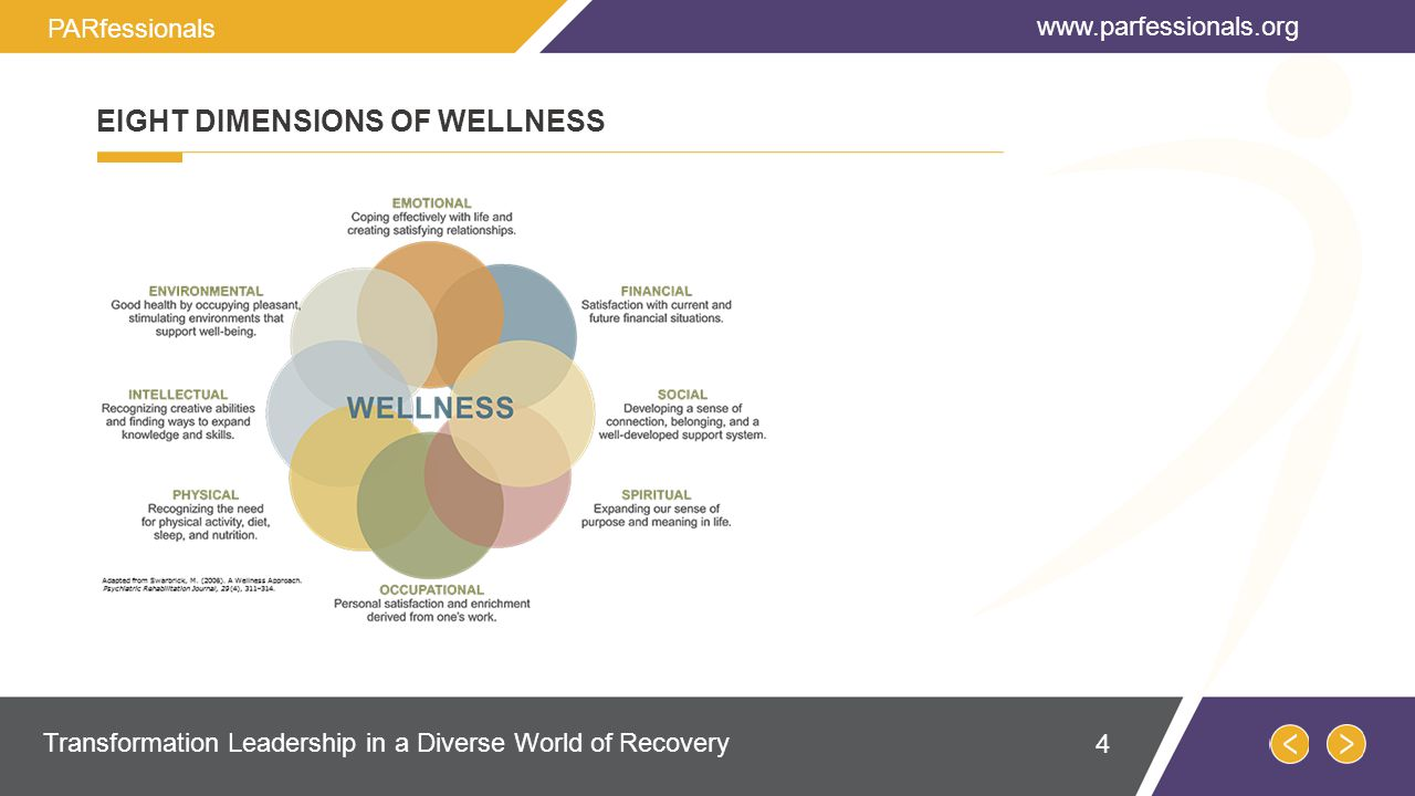 EIGHT DIMENSIONS OF WELLNESS   Transformation Leadership in a Diverse World of Recovery PARfessionals 4
