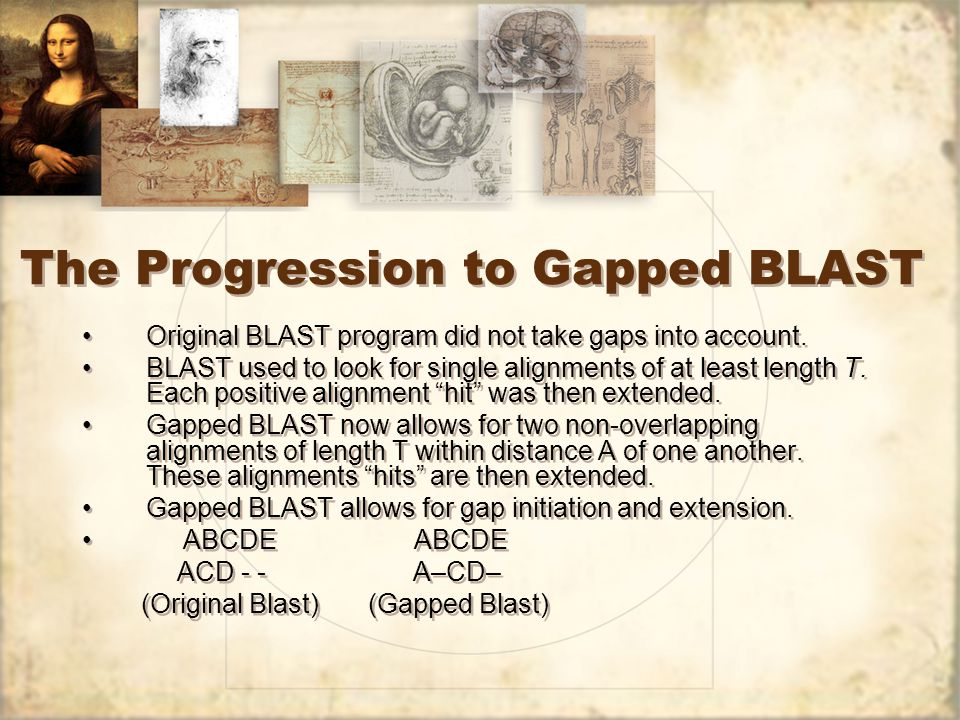 The Progression to Gapped BLAST Original BLAST program did not take gaps into account.